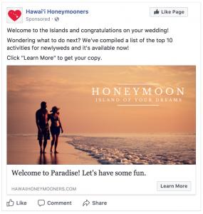 facebook targeting honeymooners