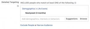 facebook targeting newlyweds